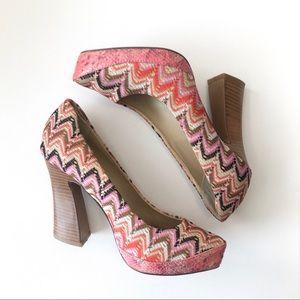 Naughty Monkey embroidered heel with chunky heel